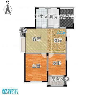 大树玫瑰恬园87.00㎡A5户型87平两居户型2室2厅1卫