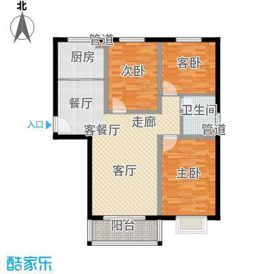 玉泉华庭111.00㎡3号楼E户型3室2厅1卫