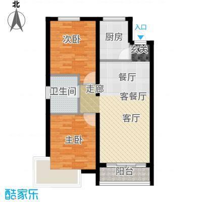 鲁能海蓝金岸88.89㎡E2户型2室2厅1卫