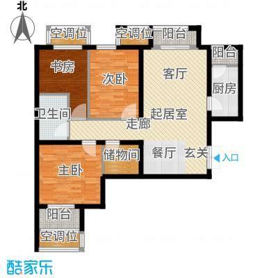 学府・未来城14号楼B户型 三室两厅一卫户型3室2厅1卫