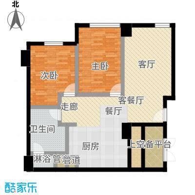 沸腾CBD89.00㎡两室一厅一卫户型2室1厅1卫