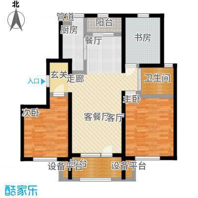 中海银海熙岸105.00㎡C1户型三室两厅一卫105平米户型3室2厅1卫