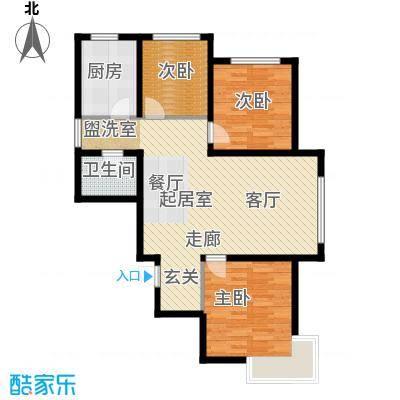 富邦壹品天城105.78㎡D户型 两室两厅一卫户型2室2厅1卫