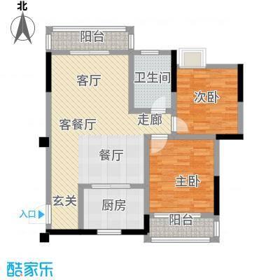 九坤翰林苑88.00㎡D2户型2室2厅1卫