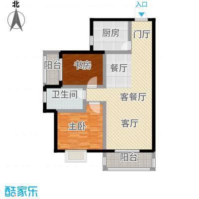 九坤翰林苑90.00㎡D3户型2室2厅1卫