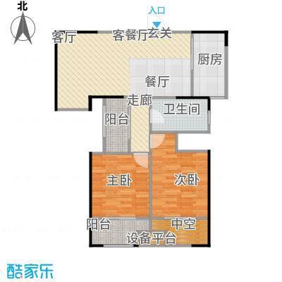 宏江中央广场87.39㎡A-3户型2室2厅1卫