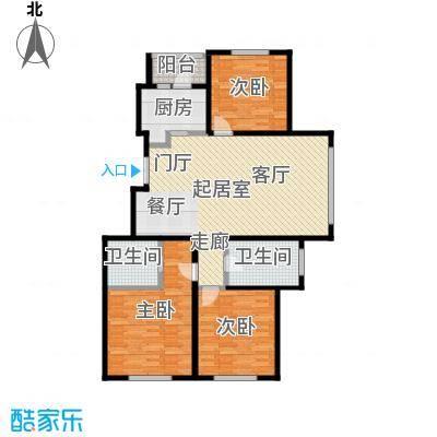 玖郡117.86㎡E户型三室两厅两卫户型3室2厅2卫