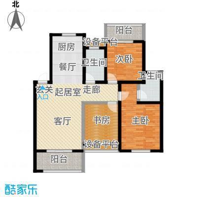 绿地华锦园108.00㎡D1户型3室2厅2卫
