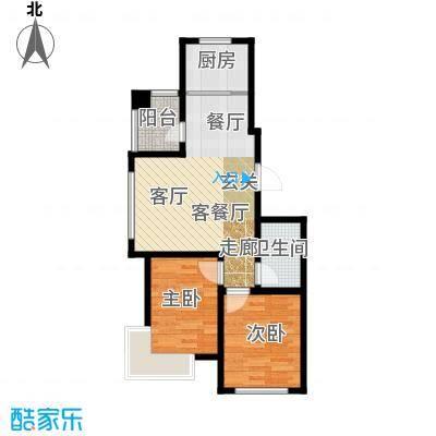 金道城75.00㎡15号楼 两室两厅一卫户型2室2厅1卫