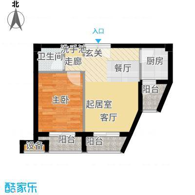 鼎晟金科凯城68.36㎡1室2厅1卫