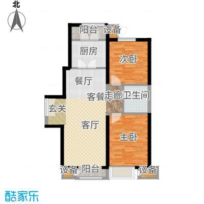 泰达城河与海107.66㎡二室二厅一卫户型2室2厅1卫