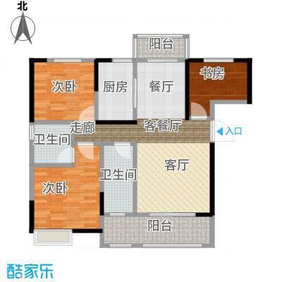 武汉锦绣香江105.00㎡B-2户型3室2厅1卫