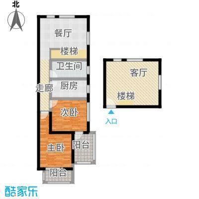 优山美地107.00㎡一期1号楼标准层G户型2室2厅1卫