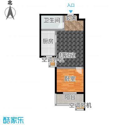 上湖名郡65.27㎡一室一厅一卫65.27平米户型1室1厅1卫