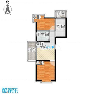 时尚派45.26㎡两室一厅一卫户型 使用面积45.26平米户型2室1厅1卫