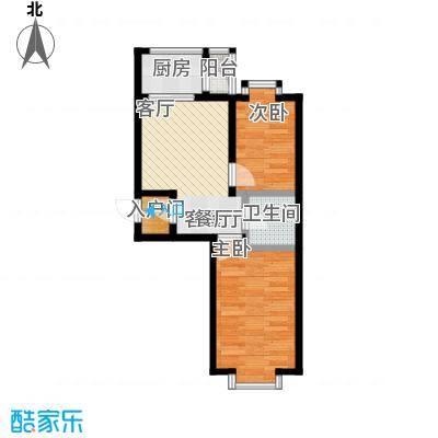 时尚派40.75㎡两室一厅一卫 使用面积40.75/42.32/44.44平米户型2室1厅1卫