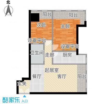 天津富力中心77.96㎡低区0户型2室2厅1卫