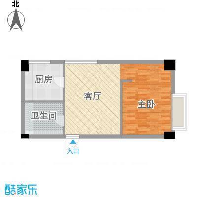 长庚老年公寓二期万华55.74㎡D户型-1室1厅1卫户型