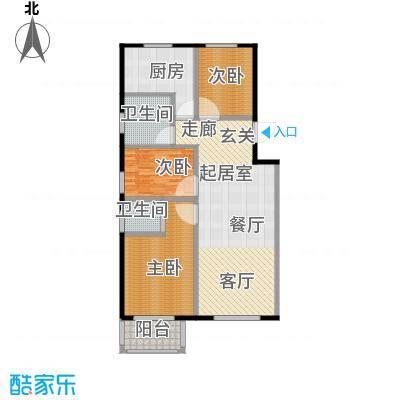 浩正�林湾119.96㎡三室两厅两卫户型3室2厅2卫