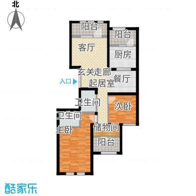 金辉天鹅湾115.00㎡J户型 三室两厅一卫户型3室2厅2卫