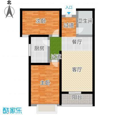 悦水澜庭87.65㎡B户型两室两厅一卫户型2室2厅1卫