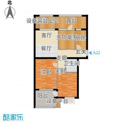 永康城市花园106.00㎡大两居 小三房 106-107平户型3室2厅1卫