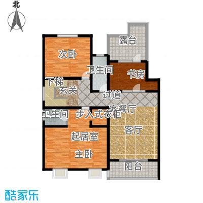 博鑫青年城三期341.00㎡6号楼三室一厅两卫(上层)户型3室1厅2卫