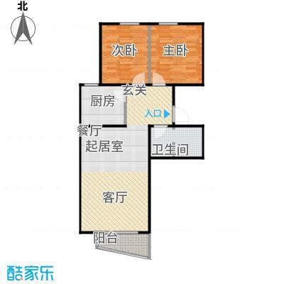 鸥洲86.07㎡电梯洋房户型图Q户型2室2厅1卫