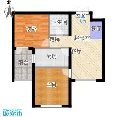 开美国际B户型面积81.22平米户型2室1厅1卫