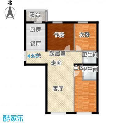 开美国际D户型面积137.87-138.81平米户型3室1厅2卫