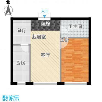 开美国际F户型面积64.97-65.40平米户型1室1厅1卫