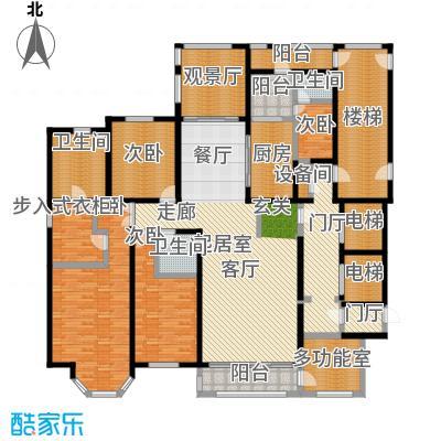 河畔公馆B座 A户型 243-257平米 四室三厅三卫户型4室3厅3卫