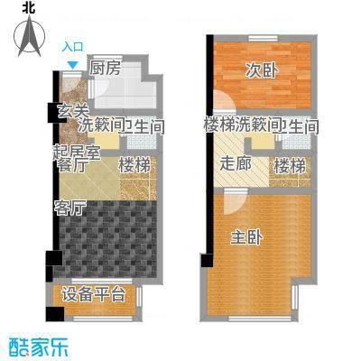 新创玉山广场63.00㎡5.98米挑高酒店式公寓-住宅户型2室2厅2卫