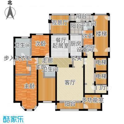 河畔公馆243.00㎡A户型 4室3厅3卫户型4室3厅3卫