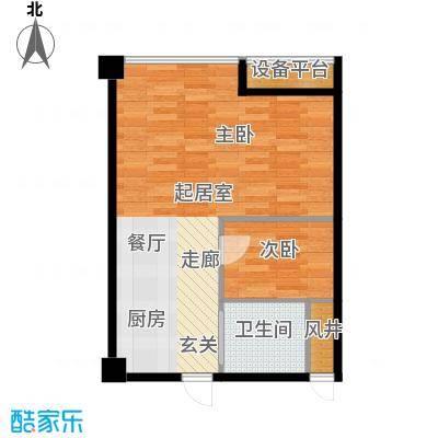 嘉兴总部商务花园5号楼(WO居)一室一厅一卫,面积约73方户型