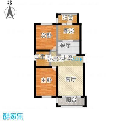 明悦浪漫城户型三2室2厅1卫使用面积78平米户型2室2厅1卫