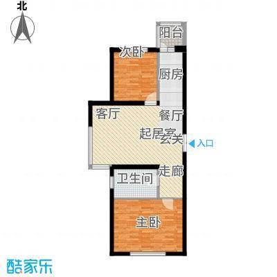 开美国际A户型面积103.18平米户型2室1厅1卫