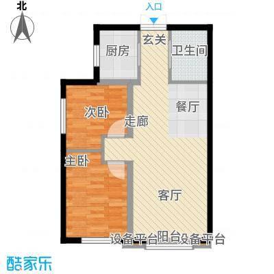 溪语原筑户型2室1厅1卫1厨