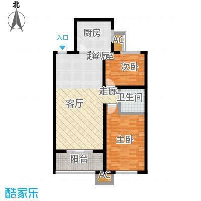 和美鑫苑90.00㎡5号楼C-3两室两厅一卫户型2室2厅1卫