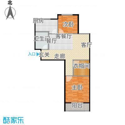 兴盛铭仕城84.16㎡20#K户型两室两厅一卫:84.16平米户型2室2厅1卫