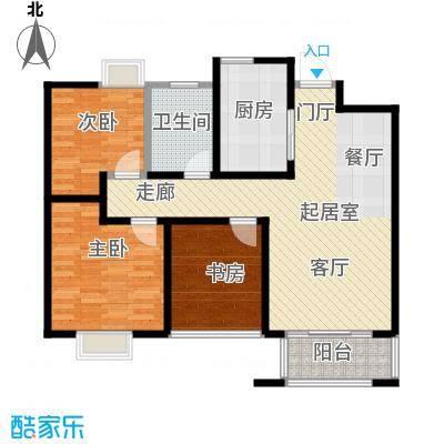 旭辉苹果乐园89.00㎡1#B1户型3室2厅1卫