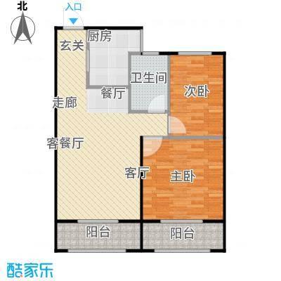 兴盛铭仕城76.79㎡11、12、19、21#B户型两室两厅一卫:76.79平米户型2室2厅1卫