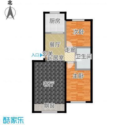 哈东城市公元80.00㎡F户型两室两厅一卫户型2室2厅1卫