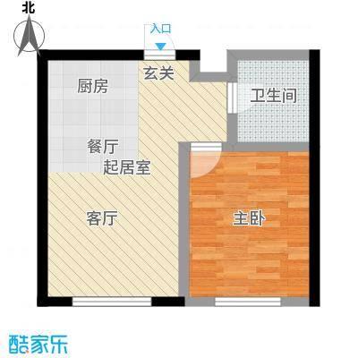 哈东上城50.57㎡1-2-10#B户型1室1厅1卫户型1室1厅1卫