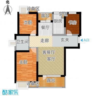 三盛颐景蓝湾102.00㎡三室两厅一卫户型3室2厅