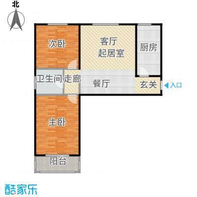 侯河铭品尚江南94.11㎡1、7、8号楼D户型两室两厅一卫户型2室2厅1卫