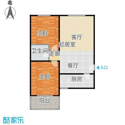 侯河铭品尚江南96.75㎡1、7、8号楼F户型两室两厅一卫户型2室2厅1卫