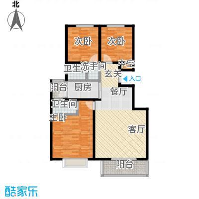 新华府114.03㎡三室二厅二卫户型3室2厅2卫