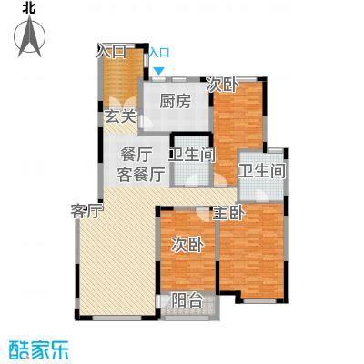 汇置尚都164.00㎡洋房2单元西端中户副本1F中户三室户型3室2厅2卫