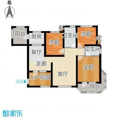 东方格兰维亚132.87㎡三室两厅两卫户型3室2厅2卫
